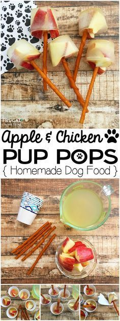 Apple & Chicken Pup Pops Homemade Dog Food on Frugal Coupon Living. Diy at home easy recipe for dogs. Puppy Treats, Diy Dog Treats, Homemade Dog Treats, Dog Treat Recipes, Healthy Dog Treats, Dog Food Recipes, Homemade Cheese, Homemade Food, Free Recipes