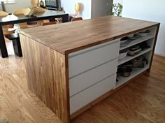 ikea malm bedroom dresser and numerar kitchen countertops create a woodcovered island ikea hackers