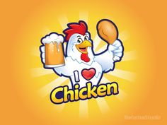 "Mascot logo ""I love Chicken"""