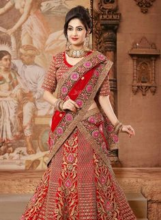 Red traditional Indian bridal ghaghra choli in net E15311