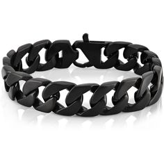 West Coast Jewelry Crucible Black Plated Stainless Steel Brushed... ($36) ❤ liked on Polyvore featuring men's fashion, men's jewelry, men's bracelets, bracelets, black and mens stainless steel bracelets