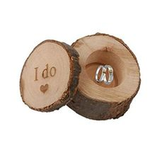 OrliverHL Romantic Rustic Wooden I Do Ring Bearer Box Wedding Jewelry Holder Gift *** Details can be found by clicking on the image. (Note:Amazon affiliate link)