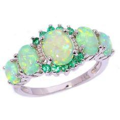 Green Fire Opal & Emerald Women Jewelry Gems Silver Ring Size 6/7/8/9/10 OJ7552