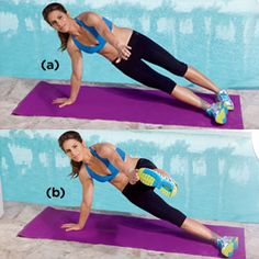 Jillian Michaels Workout: 4 Amazing Abs Exercises Never thought of this before. Looks like it works stabilizer, lower abs and glutes muscles Fitness Workouts, Fitness Motivation, Fitness Diet, Fun Workouts, Health Fitness, Women's Health, Health Care, Morning Workouts, Woman Fitness
