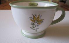 "New~Starbucks 2006 ""Nurturing"" White Mug Cup Yellow Flower Green Rim Footed 10oz #Starbucks"