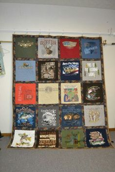 Hunting and fishing t-shirt quilt for my husband.  October 2012