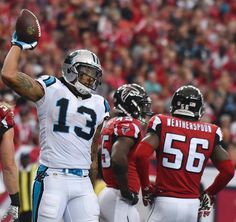 Panthers Falcons Football Carolina Panthers wide receiver Kelvin Benjamin (13) celebrates his touchdown against the Atlanta Falcons during the second half of an NFL football game, Sunday, Oct. 2, 2016, in Atlanta. (AP Photo/Rainier Ehrhardt)