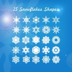 25 Snowflakes Shapes PSD