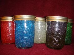 Smelly jelly - made from water crystals and is great in small spaces. Awesome for spaces where you can't burn candles: child's room, bathroom, desk, nursing home, etc. I even put them in the cup holder of my car! Smelly jelly also helps you grow healthier, fuller plants by providing a ready supply of water to plant roots. Just sprinkle them in your plant bed and enjoy longer periods between watering. Smelly jelly will last for months with proper care.