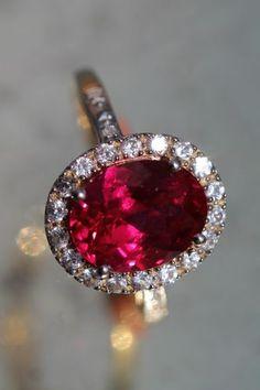 Vintage 10K Yellow Gold Genuine Diamond Faux Ruby Ring | eBay