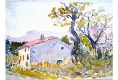 "Watercolor of French farmhouse, 10.25""x6.5"" 79 dollars  onekingslane.com"