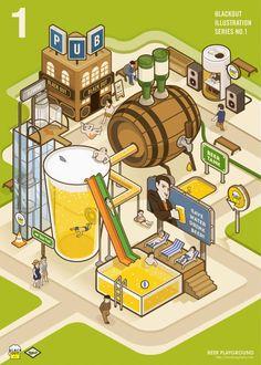 <BEER PLAYGROUND> 맥주에 관한 그래픽 작업을 하는 스튜디오 블랙아웃의 첫 일러스트 포스터입니다.  위에서부터 반자동 소맥 머신, 맥주 풀장, 맥주 다이빙대 입니다. :)