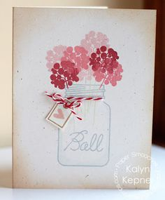 "Paper Smooches: hey there Have to try a ""jar card"". Like the flowers in this. Would like to try with some flowers stamps I have, one or 2 could be 3D"