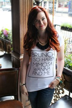 """Brunch So Hard Mimosa Wanna Find Me!"" Our original design and saying is perfect for all those brunch lovers out there! We are all about those mimosas, and we know you are too. Pair this shirt with jeans or dress it up... as long as you pair it with a mimosa you can't go wrong! (Click here to purchase your own shirt from The Trendy Sparrow - $28)"