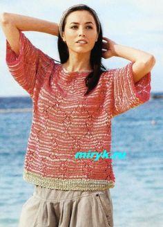 Красно-бежевый пуловер «Calera» спицами