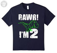 Kids 2nd Birthday Dinosaur Gift T-Shirt for 2 Year Old Boys girls 8 Navy - Birthday shirts (*Amazon Partner-Link)