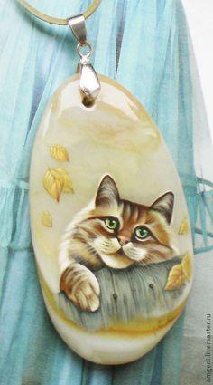 Купить Кулон Осень - желтый, кот, осень, дача, темпера, агат