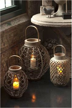 Punched Ceramic Lanterns - eclectic - candles and candle holders - Pottery Barn Hurricane Lanterns, Candle Lanterns, Hurricane Glass, Indoor Lanterns, Rustic Lanterns, Flameless Candles, Candleholders, Lantern Lamp, Lantern Candle Holders