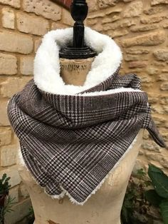 A lovely Traditional Tweed Neck Warmer- lined with super-soft snuggly sherpa fleece With antique brass D-ring fastenings Matching dog jacket available Diy Clothing, Sewing Clothes, Sewing Scarves, Velvet Scarf, Creative Textiles, Diy Scarf, Sewing Patterns Free, Hat Patterns, Neck Scarves