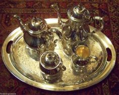 Search by seller - FineThings4sale - our family estate items.  HUGE GORHAM SILVER CHASED TRAY & COFFEE TEA SERVICE SET ~ SERIOUS COLLECTOR ITEM