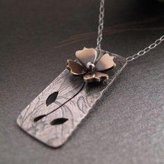 Flower Pendant by Laura Flavin. Mixed Metal Jewelry, Metal Clay Jewelry, Copper Jewelry, Polymer Clay Jewelry, Wire Jewelry, Boho Jewelry, Pendant Jewelry, Jewelry Art, Jewelery