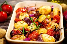 This simple dish of roasted potatoes and tomatoes has amazing flavor and is easy to throw together.
