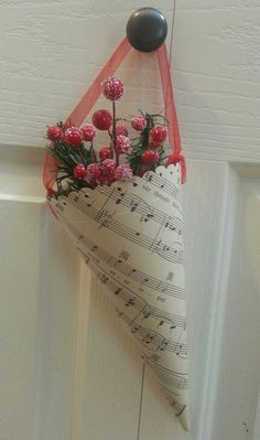 Vintage music paper cone Christmas ornament