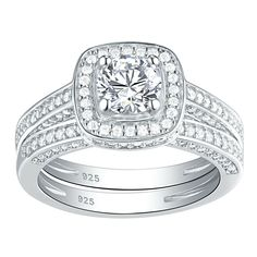 Sterling Silver .925 CZ Round Halo Round Engagement Wedding Ring Band Set 5-10