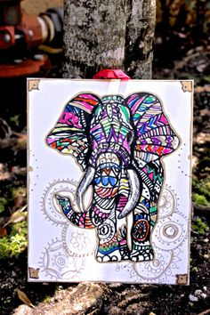 Colorful Tribal Elephant Mandal Background Canvas Wall Hanging