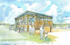 A watercolour perspective for the proposal of the new Plymouth Cricket Club Pavillion. By Roderick James Architects.