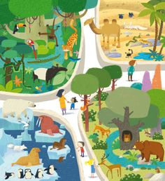 Leading Illustration & Publishing Agency based in London, New York & Marbella. Animal Crafts For Kids, Art For Kids, Zoo Drawing, Zoo Map, Zoo Project, Free Activities For Kids, Watercolor Animals, Illustrations And Posters, Children's Book Illustration