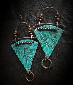 Tribal Southwest Turquoise Copper Patina Artisan Made Aged Copper Earrings Primitive Organic Beaded Earrings by YuccaBloom Mixed Metal Jewelry, Wire Jewelry, Handmade Jewelry, Unique Jewelry, Jewelry Ideas, Copper Earrings, Clay Earrings, Beaded Earrings, Jewelry Accessories