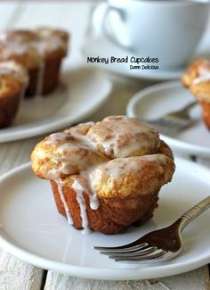 Individual Monkey breads I'm going to have to try! If you roll the dough in melted butter & then in the sugar/cinnamon mixture, once they're baked you won't need any glaze for these gems!