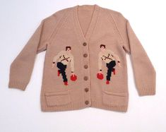 Bowling Cardigan Vintage Bowler Throwing A Red Ball at the Alley Lane Sweater Hand Knit Novelty Sweater Retro Mid Century Casual Skirt Outfits, Cool Outfits, Vintage Bowling Shirts, Bowling Outfit, Vintage Sweaters, Ladies Dress Design, Sweater Weather, Kids Fashion, Men Fashion