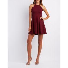 Charlotte Russe Scalloped Bib Neck Skater Dress ($35) ❤ liked on Polyvore featuring dresses, burgundy, burgundy skater dress, burgundy dress, flared skater skirt, flared skirt dress and pleated skater skirt