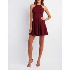 Charlotte Russe Scalloped Bib Neck Skater Dress ($35) ❤ liked on Polyvore featuring dresses, burgundy, skater skirt dress, flared skirt, pleated skater skirt, burgundy skater dress and skater dress