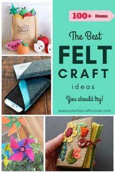 Check out these Easy DIY felt craft ideas. A huge list to inspire and show you how versatile felt can be. Felt Crafts Diy, Felt Diy, Fall Crafts, Felt Phone Cases, Felt Advent Calendar, Felt Bookmark, Felt Crown, Felt Pillow, Felt Gifts