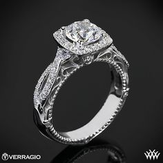 Verragio 4 Prong Cushion Halo Diamond Engagement Ring from the Verragio Venetian Collection.