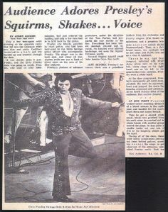 Elvis Presley Newspaper Concert Review for His April 14,1972 On Tour Show Part 1 by rockinred1969, via Flickr