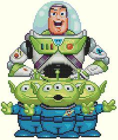 Buzz Lightyear and Aliens Cross Stitch Pattern-Disney, Toy Story