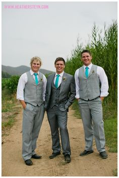 I like the distinction between the groom and groomsmen and the grey is not too dark or too light