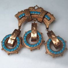 Antique Victorian Etruscan Revival Turquoise Enamel Gold GF Dangle Brooch Pin