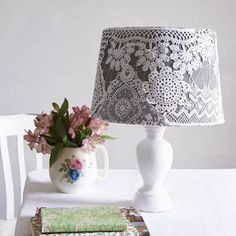 This homemade lampshade craft project will refresh tired drum shades with remnants of crochet and lace. Secure with thread to create a delicate spider-web effect.