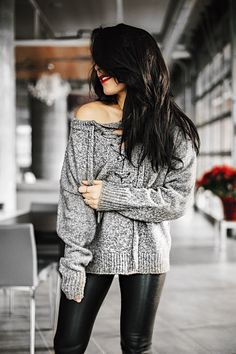 Cozy grey knit sweater @ myfashavenue