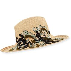 Etro Embroidered Straw (Brown) Hat ($790) ❤ liked on Polyvore featuring accessories, hats, brown, brown hat, etro, flat brim hats, flat hat and straw hat