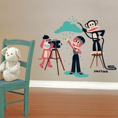 Searching for the most beautiful wall decor for your kids rooms is finally over! This vinyl wall decal from Paul frank wall art collection features Julius the monkey and his friends on a photo shoot. This wall decal is a cool room decor for kids, it's easy to apply and remove. With multiple stickers, you can apply the stickers in the order you wish on their room or play area walls.$134.99