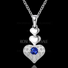 Rhinestone Layered Hearts Necklace For Women - $3.97