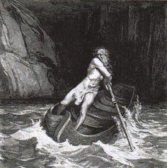 CARONTE: barquero del Hades. Transportaba las almas de los muertos a través de la laguna Estigia (o quizás, el río Aqueronte) por lo que tenían que pagar el pasaje.