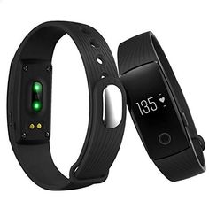 ID107 Heart Rate Fitness Tracker Bluetooth 4.0 Smart Bracelet for iOS Android Black. Built-in pedometer keeps track of your daily activities and calculates calorie burned. Heart rate monitor helps you exercise in your target heart rate zone. Sleep monitor records and analyzes your sleep patterns. Call reminder notifies you when there's incoming call on the phone. Remote shutter control over cellphone camera, Compatible with Android 4.4 or above and iOS 7.1 or above.