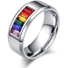 JAJAFOOK Stainless Steel Rings Mens Womens Wedding Gay Pride LGBT... (£18) ❤ liked on Polyvore featuring men's fashion, men's jewelry, men's rings, mens stainless steel wedding rings, mens watches jewelry, mens stainless steel rings, mens wedding rings and mens rings #men'sjewelry